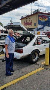 Debbie Reid with her Mustang